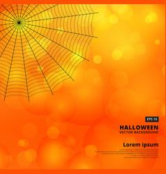 Orange blurred bokeh halloween background with vector