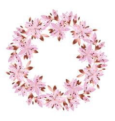 pale pink garden flowers wreath vector image