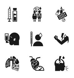 pneumonia bacteria icon set simple style vector image