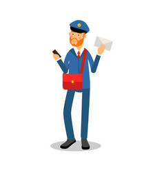 Postman with a red beard in blue uniform vector