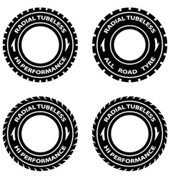 Radial tubeless hi performance tyre symbols vector