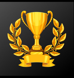 realistic gold cup with laurel wreath vector image