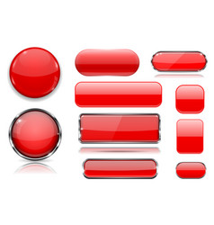 red glass buttons collection of 3d icons vector image