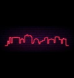 red neon skyline reno city bright reno city vector image