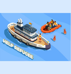 Refugee boat isometric background vector