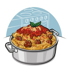 rigatoni pasta with meatballs vector image