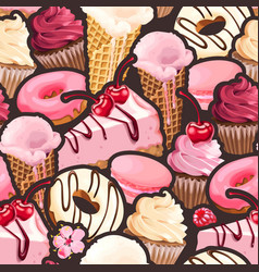 Seamless pattern with pink and white sweets vector