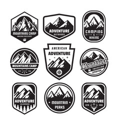 set adventure outdoor concept badges camping vector image