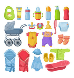 Set different tools for newborn baby vector