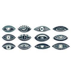 Set eyes mystic hand drawoccult mystic emblemevil vector