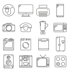 set of icons in line style kitchen electronics vector image