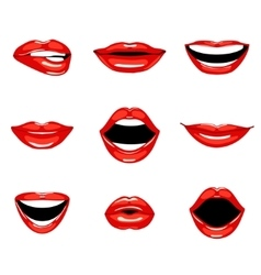 Set of red kissing and smiling cartoon lips vector image
