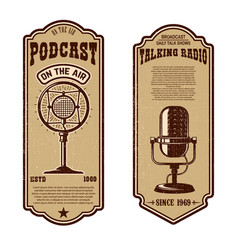 set of vintage podcast radio flyers with vector image
