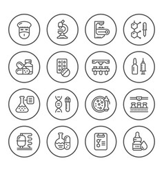 Set round line icons of pharmaceutical industry vector