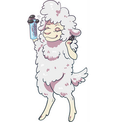 Sheep using hairspray styling its hair vector