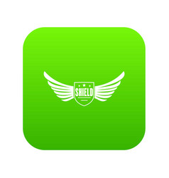 shield wing icon green vector image