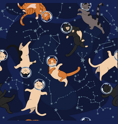 space cats and constellations seamless pattern vector image