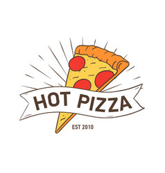 stylish logotype with pizza slice and ribbon vector image