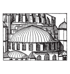 Suleimani mosqueapse semi-dome vintage engraving vector