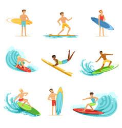 surfboarders riding on waves set surfer men vector image