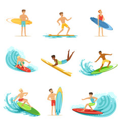 surfboarders riding on waves set surfer men with vector image