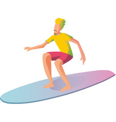 Surfer on surf boards catching waves in the vector