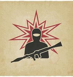 Terrorist with grenade launcher vector