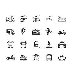 transport line icons airplane helicopter balloon vector image