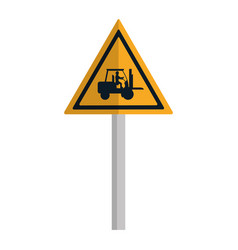Triangle caution emblem and laborer with forklift vector