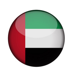 united arab emirates flag in glossy round button vector image