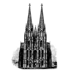 vintage engraving a gothic cathedral vector image