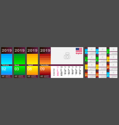 wall calendar 2019 in english colorful vector image