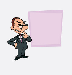 White businessman with glasses worried and vector