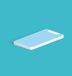 white smartphone mockup on blue background vector image