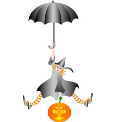 witch halloween flying on umbrella with a pumpkin vector image