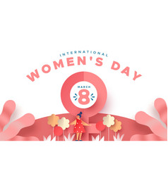 Womens day 8 march paper cut flower girl card vector