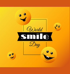 world smile day bright greeting card vector image