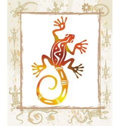 color lizard in a frame vector image vector image
