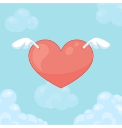 Flying hearts with wings Card for Valentine day vector image