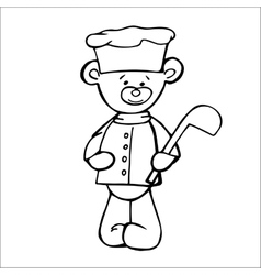 Outlined bear cook toy isolated on white vector