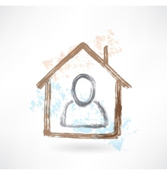 Person in a house grunge icon vector image vector image
