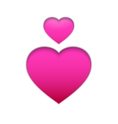 Pink hearts isolated on white background vector image