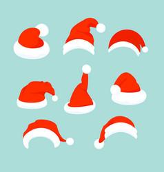 set of santa hats in flat vector image vector image