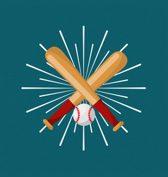baseball bat and ball sport sunburst color vector image