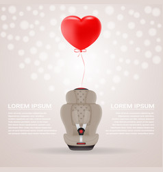 beige child car seat with red baloon in shape of vector image vector image