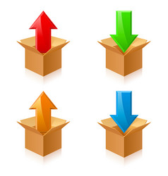 open color cardboard boxes and arrows for design vector image