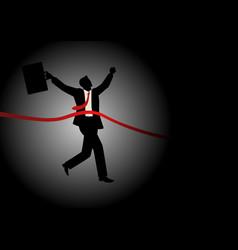 running businessman at finish line vector image