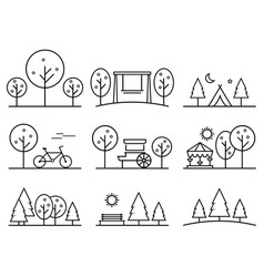 set of outline design icons parkland vector image vector image