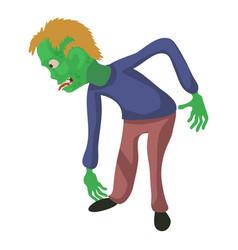 bent zombie icon cartoon style vector image vector image