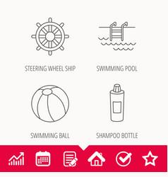 Shampoo swimming pool and ball icons vector